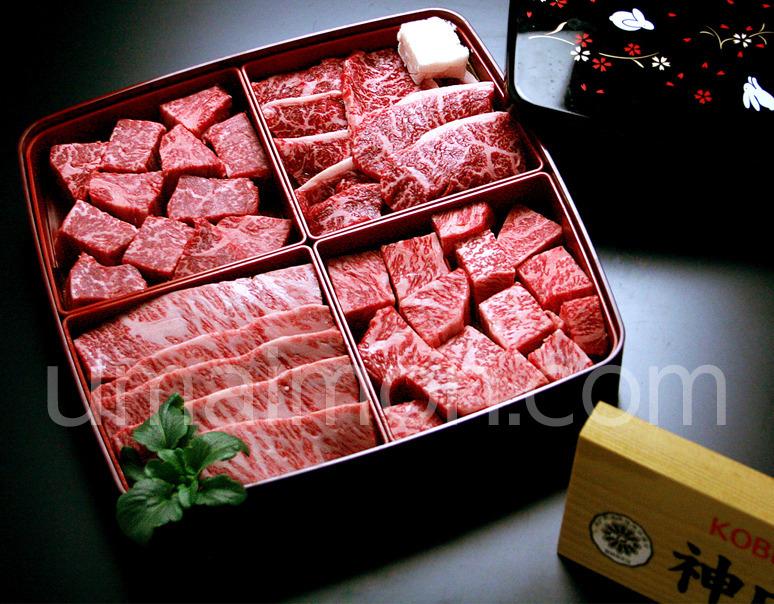 『神戸牛 焼肉懐石』計800g(サーロイン・イチボ・ヘレ・バラ 各約200g)+天然塩・玉葱ポン酢付き ※冷蔵の写真