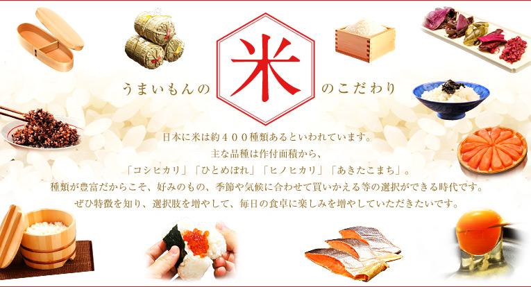 うまいもんの米のこだわり 日本に米は約400種類あるといわれています。 主な品種は作付面積から、 「コシヒカリ」「ひとめぼれ」「ヒノヒカリ」「あきたこまち」。 種類が豊富だからこそ、好みのもの、季節や気候に合わせて買いかえる等の選択ができる時代です。 ぜひ特徴を知り、選択肢を増やして、毎日の食卓に楽しみを増やしていただきたいです。