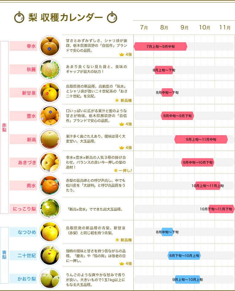 梨 年間収穫カレンダー早見表