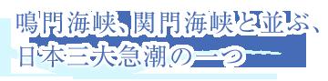 鳴門海峡、関門海峡と並ぶ、日本三大急潮の一つ
