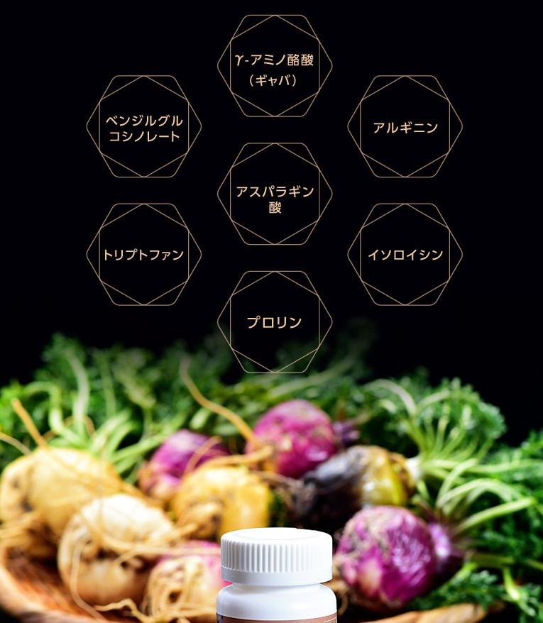 純国産マカ100%にはこんなにたくさんの栄養素が含まれます! γ-アミノ酪酸(ギャバ) アルギニン アスパラギン酸 イソロイシン プロリン ベンジルグルコシノレート トリプトファン