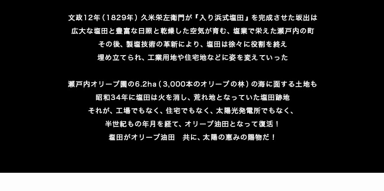 地域の人たちと共に!瀬戸内オリーブ代表 松浦玲子  2011年12月1日創業の株式会社瀬戸内オリーブは、代表の松浦玲子の郷土への想いが具現化したプロジェクト会社だ。  昭和30年代まで塩田業を営んでいた父から受け継いだ土地には、バブル時代は数多くの買取オファーが集まった。さらに、東日本大震災後の太陽光発電ブームで、ソーラーパネル設置の話も舞い込んだが、松浦は決して首を縦には振らなかった。  理由は未秩序な開発は地域を分断してしまうし、太陽光発電では地元の雇用は生まれないし、坂出地域の活性化には繋がらないからだ。 先祖代々受け継いできた土地は、郷土の人のものであり、郷土の人の手で、郷土の人のために有効活用されるべきという、松浦の信念がある。  松浦玲子は医師だった母に憧れ、東京女子医大に入学している。 医師を志したものの、同じ医師を目指す夫と出会い、学生結婚をした後、大学を中退。家族のために時間を使う人生を選んだ。 家庭に入り、子育てする傍らで、母と夫が勤務していた坂出市の回生病院の患者の多くから、退院後の暮らしに様々な不便があるとの話を聞いていたことから、在宅介護などを行う、福祉サービス会社を昭和52年に設立。 さらに、父が経営する建設会社や坂出の港を管理するマリーナの代表を勤めるなど、地域に根付いた事業や活動を展開してきた。 『地域の人たちの支えがあって、福祉や建設業やNPOなどを続けて来られた。』 との想いがあり、いつか、そうした人たちへ恩返しの意味もあり、地域振興に貢献することをしたいと考えていた。   2011年 香川県のオリーブ産業支援事業が始まる  香川県は日本各地でオリーブ栽培が始まった事に危機感を感じ、県内オリーブ産業の振興と競争力強化策に乗り出したことを松浦は知る。 これまで様々な用途での引き合いがあっても、断り続けてきた塩田跡の遊休地。 遂に松浦玲子の手で、半世紀以上の眠りから醒めることになった。 全ての土地をオリーブ栽培にかける!こうして6.2haの塩田跡地はオリーブ油田へ生まれ変わることとなった。   同じ田でも、塩とオリーブでは天と地ほどの違いが  塩田跡地は水はけが悪く、塩分濃度も高く、日照時間が長い以外はオリーブの栽培に不適な土地だ。そこで、6、2haの土地は造成と土壌入替、さらに給排水設備を導入し、オリーブ圃場として生まれ変わるプロジェクトがスタートした。 設立当初、大規模な圃場整備の陣頭指揮を取ったのが、松浦と以前から親交があった、当時の東京理科大学名誉教授(土木工学の権威)の大林成行氏。 大林氏は初代社長としてオリーブ園の造成工事、さらには、植樹計画から育成管理の省力化等にも取組み、短期間でオリーブ園の骨格を完成させた創業立役者だ。  このオリーブ圃場整備で深井戸の掘削を大林から相談されたのが、現在の育成統括責任者の蓮井平記。大林氏の『人々の健康に貢献したい』という熱意に共感し、自らが社長を勤めていた会社を息子に譲り、瀬戸内オリーブの圃場管理からオイルなどの製造プロセスを開発改良する大黒柱となった。