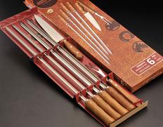 TRAMONTINA シュラスコ用バーベキュー道具6点(ブラジル製スキュアー・ナイフ・カービングフォーク)